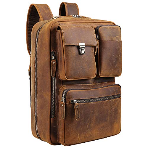 Vints Leather Laptop Backpack Convertible into Briefcase Handmade Business Rucksack Bag...