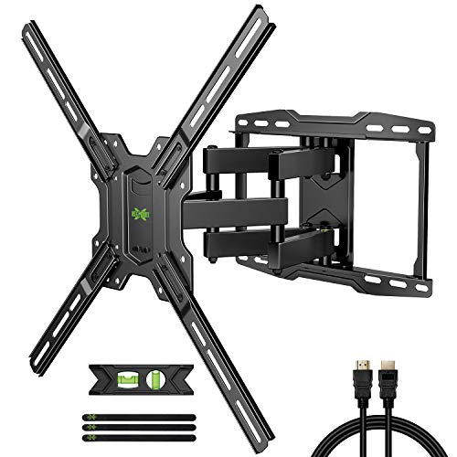 """USX MOUNT Full Motion TV Wall Mount Max VESA 600x400mm for Most 42-75 inch Flat Screen TVs, TV Mount Bracket Dual Swivel Articulating Tilt 6 Arms Up to 16"""" Wood Stud, Weight Capacity 100lbs"""