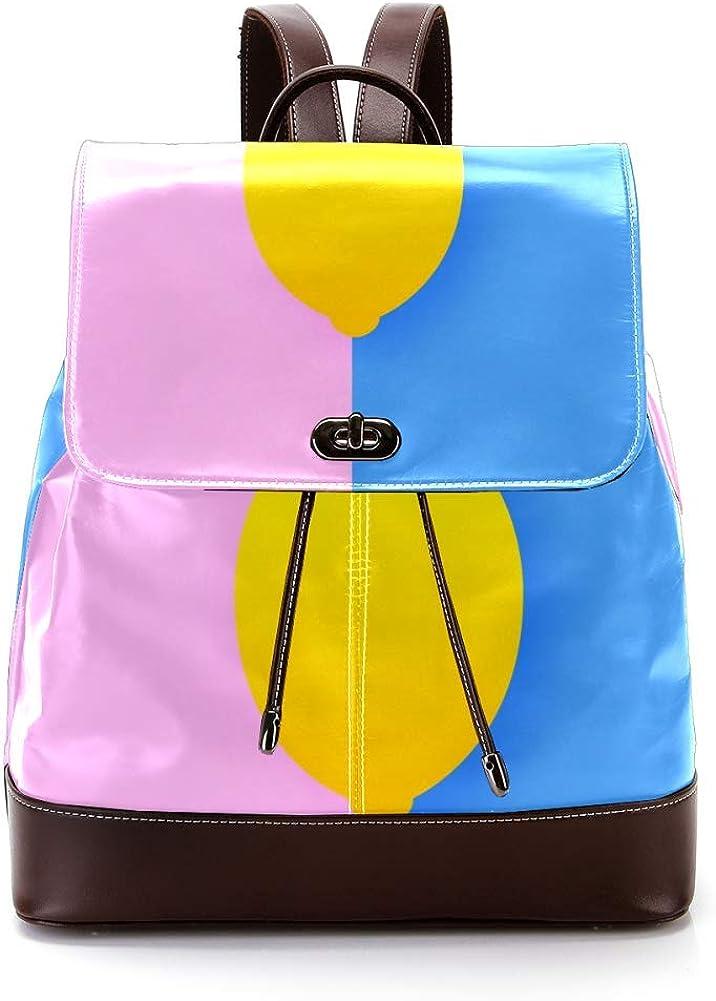 Lemon PU Leather Backpack Fashion Shoulder Bag Rucksack Travel Bag for Women Girls
