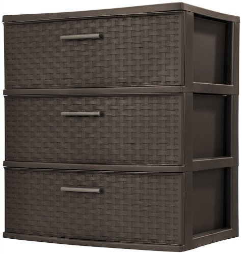 Sterilite Wide 3 Drawer Weave Tower Espresso