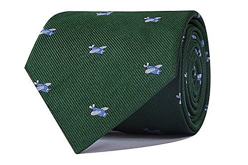 CARLO VISCONTI - Corbata de Hombre - Motivo Aviones - Verde y Celeste - Tejido Jacquard 100% Seda Natural - Forro de Lana y Algodón - Corbata de Hombre Original - Regalo para Caballeros