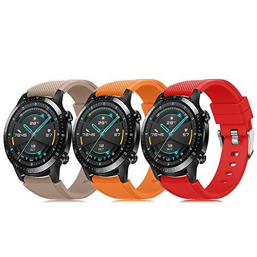 Pack de 3 pulseras de 22 mm compatibles con Huawei Watch GT 2 / Samsung Galaxy Watch 46 mm / Gear S3 correa de reloj de silicona suave, cierre rápido, repuesto transpirable DE71003 (color 13-15)