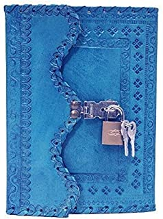Lovely Craft Handmade Leather Bound Journal Regular Diary/Personal Organiser Memoir for Men and Women with Lock and Key 7 ...
