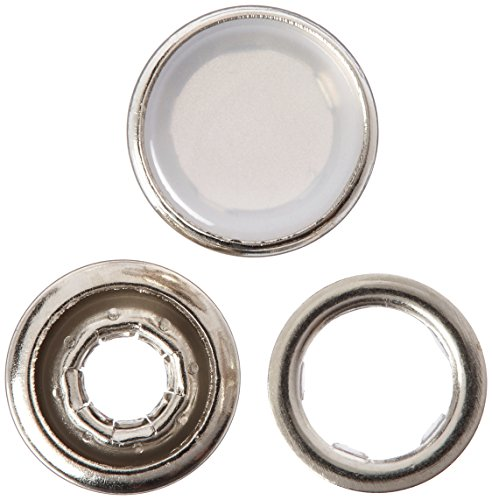 Dritz 25-R Pearl Snap Fasteners, White, Size 16 (7/16-Inch) 12-Count