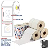 Q TAG 100 x 150mm (4inch x 6inch) Permanent type White Thermal Transfer Paper Shipping - Logistic Barcode Labels - 500 labels per Roll - Pack of 5