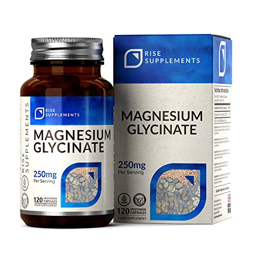 Rise Supplements Magnesium Glycinat Kapseln | 120 Vegane Kapseln, 250mg | Muskelgesundheit, Besser Schlafen Tabletten | HOCHWERTIGES, Bioverfügbares Magnesium | ISO-Zertifizierten Betrieben in GB
