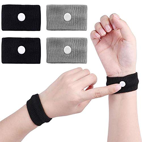 2 Pairs Motion Sickness Relief Wristbands Travel Sickness Band Anti Nausea Wrist Bands Bracelet for Morning Sickness Sea Travel Car Sickness Adults and Children (Black+Gray)