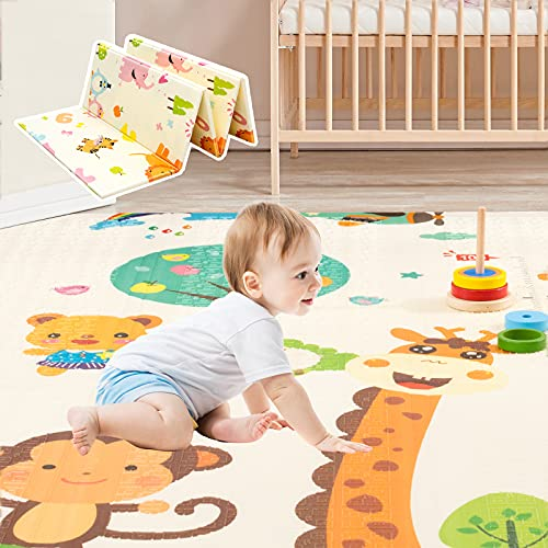 """Gentle Monster Baby Play Mat, Extra Large Foldable Play Mat for Baby, Portable Baby Crawling Mat, Waterproof Non Toxic Anti Slip Soft Foam Reversible Playmat for Infants Toddlers and Kids 77"""" x 70"""" In"""