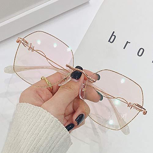 HFSKJ Recortar Gafas sin Montura,Gafas Anti-luz Azul,Gafas Intermitentes con Cuentas con Patas de Placa Adecuado para Damas