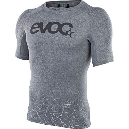 EVOC ENDURO SHIRT Schutzkleidung Protektorshirt für Enduro-Touren und andere Action Sportarten (Größe: L, entnehmbarer Schulterprotektor, Anti-Rutsch-Silikonstruktur, geruchshemmend), Carbon Grau
