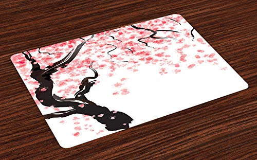 Ambesonne Floral Place Mats Set of 4, Dogwood Tree Blossom in Watercolor Painting Effect Spring Season Theme Pinkish Tones, Washable Fabric Placemats for Dining Room Kitchen Table Decor, Black Pink