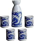 LYYF Juego de 5 copas de vino de cerámica, diseño de Ssangyong, tazas para manualidades, para frío, calor, Shochu, té, el mejor regalo para familia y amigos