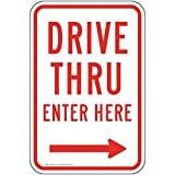 ComplianceSigns Drive Thru Enter Here [Right Arrow] Reflective Sign, 18x12 inch with Center Holes on 80 mil Aluminum