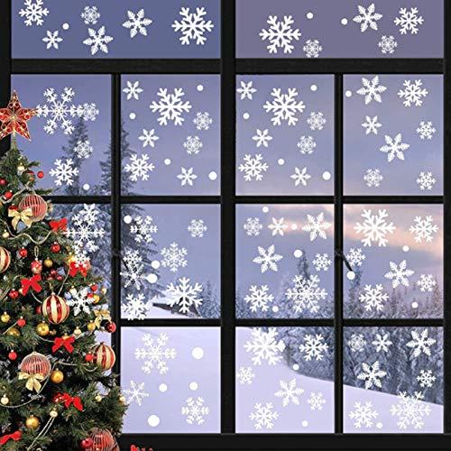 Sunshine smile Schneeflocken Fensterbild,PVC Fensterdeko Selbstklebend,Schneeflocken Fensterdeko,PVC Aufkleber,für Weihnachts-Fenster Dekoration,Vitrinen, Glasfronten,Schaufenster,Türen