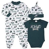 NFL Philadelphia Eagles 3 Pack Bodysuit Sleep n Play Footie Cap Registry Gift Set, Green/White Philadelphia Eagles, 3-6M