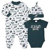 NFL Philadelphia Eagles 3 Pack Bodysuit Sleep n Play Footie Cap Registry Gift Set, green/white Philadelphia Eagles, 0-3M
