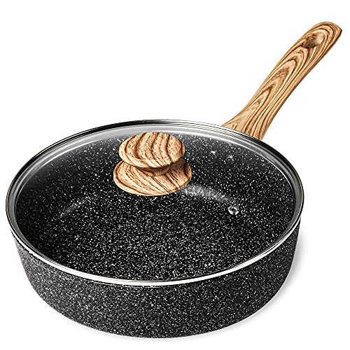 MICHELANGELO Deep Frying Pan with Lid, 11 Inch Nonstick Pan with Lid, Deep Skillet with Lid Non Stick Pan for Cooking Saute Pan Nonstick Large Skillet Nonstick with Heat-Resistant, Induction pan