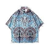 CIDCIJN Camisa Hawaiana para Hombre - Hombres Azul Impreso Hawaiian Beach Camisa Casual Camisa Salvaje Blusa Hombres Botón Top Flexible Transpirable Camisa Seca Rápida,L
