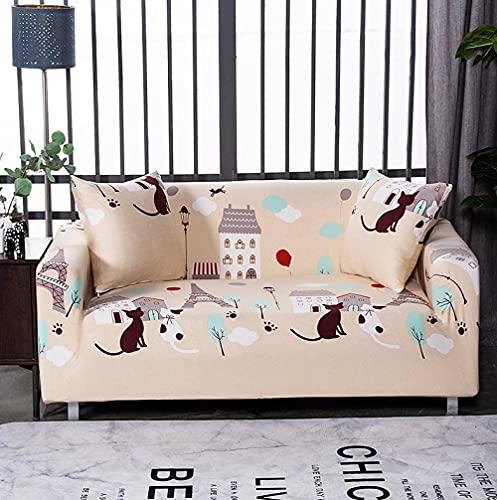 Funda Sofas 2 y 3 Plazas Gato De La Casa Amarilla Fundas para Sofa con Diseño Elegante,Cubre Sofa Ajustables,Fundas Sofa Elasticas,Funda de Sofa Chaise Longue,Protector Cubierta para Sofá