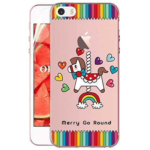 OKZone Coque iPhone 5 / iPhone 5S / iPhone Se [avec de Protection écran], Ultra Mince Motif Créatif Claires Souple Transparent Housse Etui pour iPhone 5 / iPhone 5S / iPhone Se (Cheval en Bois)