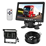 Vehicle backup camera system, 4 Pin 18 LEDs IR Night Vision Waterproof Reversing Backup Rear View Camera with 15M Cable+12V-24V 7' Color TFT LCD HD Car Monitor for RV/ Bus /Truck /Trailer