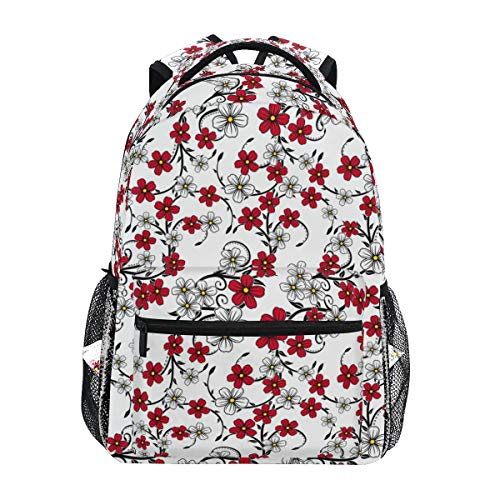 Ahomy Mochila Escolar para Adolescentes y niñas, Color Rojo y Blanco, con Flores, Mochila de Viaje, Bolsa de Senderismo para Mujeres y Hombres