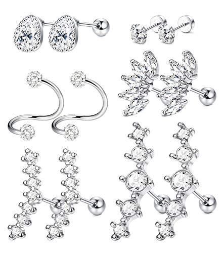LQXZJ 6 pares del oído del acero inoxidable de cartílago pendientes for las mujeres El trago Concha Helix joyería Piercing (Color : Silver tone)
