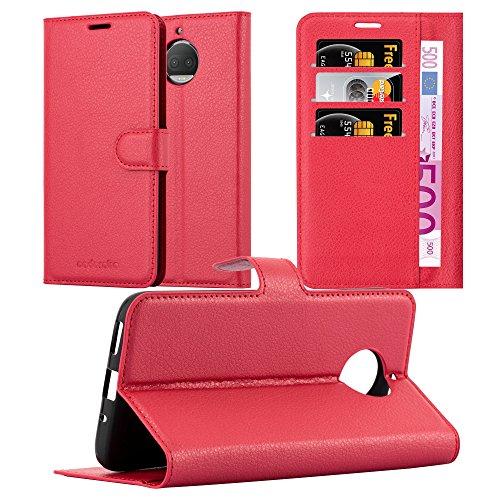 Cadorabo Hülle für Motorola Moto G5S Plus in Karmin ROT - Handyhülle mit Magnetverschluss, Standfunktion und Kartenfach - Case Cover Schutzhülle Etui Tasche Book Klapp Style