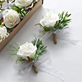 Floroom Set of 6 White Rose Boutonnieres for Best Men Groom Groomsmen Wedding Prom