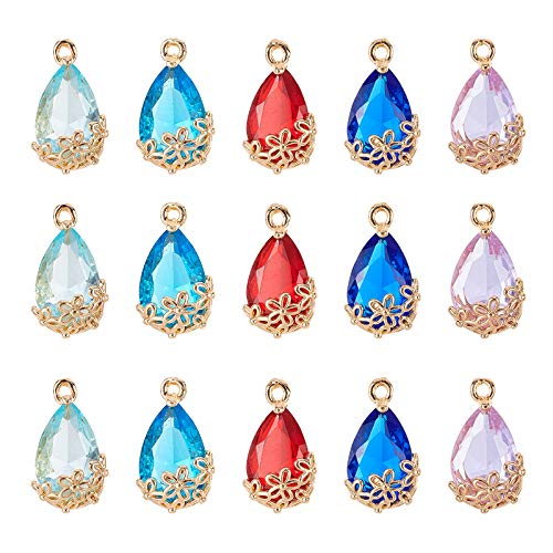 AHANDMAKER Faceted Teardrops Glass Pendants, 20 Pcs 5 Colors Faceted Transparent Glass Teardrop with Flower Charms Pendants for DIY Necklace Jewelry Making