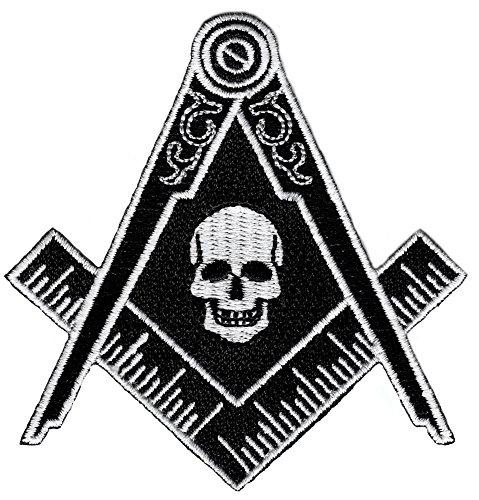 Masonic Black Skull Patch Iron On Embroidered Freemason Mason G Square Compass