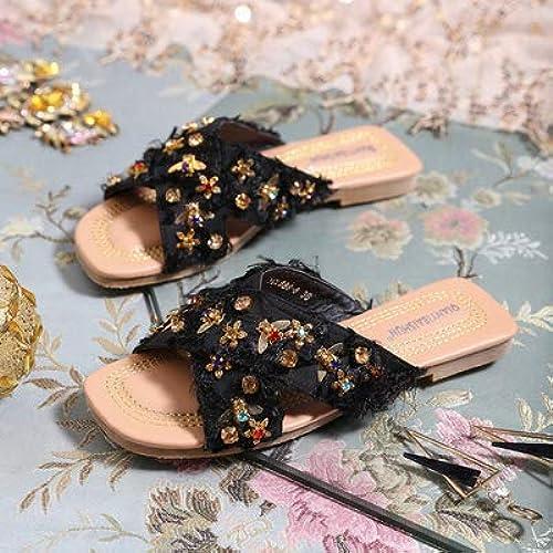 Uhrtimee Pantoufles Femmes Portent des Chaussures Plates 2019 Nouvelle Mode Estivale D'été Sandales Femmes sur La Plage Pantoufles Ins Tide, 35, Noir