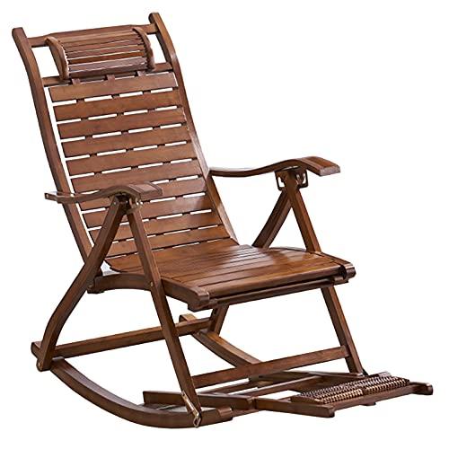 Sedie a Dondolo All'aperto Sedie a Dondolo da Campeggio per Adulti, bambù Rocker Pieghevole per Soggiorno Camera da Letto Cucina, retrò Sedia a Sdraio Regolabile, Supporto 200 kg