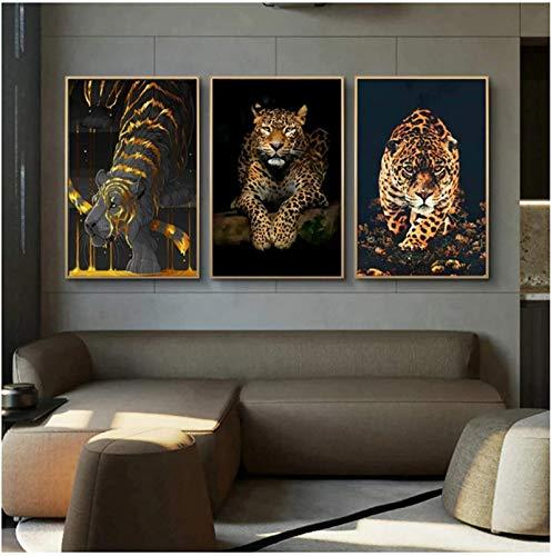 SXXRZA Pintura de Arte 3 Piezas 30x50cm Sin Marco Arte Animal Leopardo Jaguar Arte de la Pared Impresiones Carteles Cuadros de la Pared para la Sala de Estar Pared del hogar Decoración Moderna