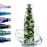 Enlifety Bottiglia Acqua in Acciaio Inox, Borraccia Termica Sportive, Isolamento Sottovuoto a Doppia Parete per 24 Ore Fredde & 12 Calde, Bottiglia da Viaggio per Escursionismo-350ML/500ML/750ML