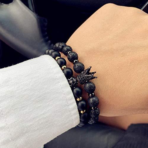 Qingsb 2 stks/set mode kroon & leeuw bedelarmband mannen klassieke matte & lavasteen set armband voor mannen effenen sieraden gift, 8