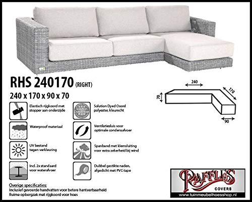 RHS240170 rechts Cover voor outdoor hoekbank 240 x 170 x 90, H: 70 cm Cover voor lounge hoekbank, Lounge sofa cover, Cover voor L-vorm bank