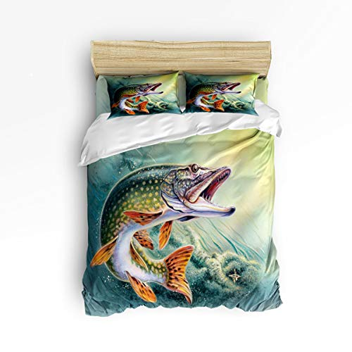 Cloud Dream Home 4 Piece Bedding Set, Fishing Duvet Cover Set Quilt Bedspread for Childrens/Kids/Teens/Adults Bass Fish with Hook Out of Ocean Full Size