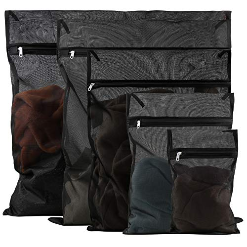 Wäschesack Wäschebeutel Wäschenetze für Waschmaschine Netz-Wäschebeutel mit Reißverschluss für Bluse, BH, Kleid, T-Shirt, Hosen, Unterwäsche, Jeans, Mäntel, Vorhänge, Bettwäsche (Schwarz, 5 Stück)