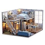 GODNECE Puppenhaus Bausatz aus Holz DIY Haus Bausatz Miniatur Puppenhaus Modellbau Mini Haus Bausatz...