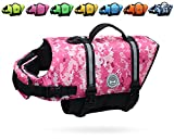 Vivaglory Ripstop Dog Life Jacket, Reflective & Adjustable Life Preserver with Enhanced Buoyancy & Rescue Handle, Camo Pink, Medium