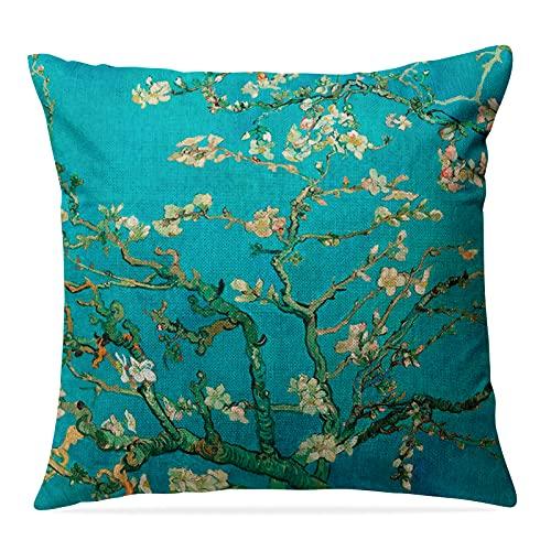 Funda de cojín de 45 x 45 cm, diseño de flores de almendro, de algodón y lino, cremallera oculta, doble cara fundas para sofá Schlafzier
