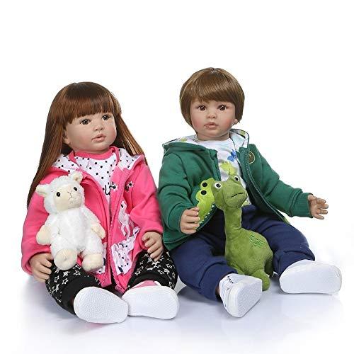 BIingkee Bambola Reborn Femmina 24 Pollici 60 CM Realistico Vinile Silicone Morbido Simulazione Bambino Bambole Reborn Toddler Babies Regalo di Compleanno Giocattoli Magnetico (gemello)