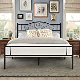 VECELO Double Bed Frame Metal Classic Platform Solid Bed Foundation, Decorative Headboard & Footboard with Heavy Duty Support for Adulte- Black,190 * 135cm