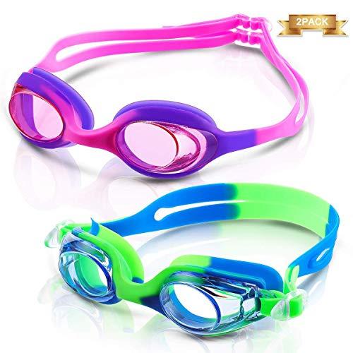 Occhialini da nuoto per bambini, CAMTOA antiappannamento lenti colorate a specchio protezione UV Progettato per i bambini Adatto a ragazzi e ragazze(Da 3 a 12 anni),2 pack
