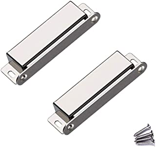 WOOCH Door Magnetic Catch - 60lb High Magnetic Stainless Steel Heavy Duty Catch for Kitchen Bathroom Cupboard Wardrobe Closet Closures Cabinet Door Drawer Latch (3.7 in Silver, 2-Pack)