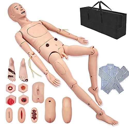 Multifunción Maniqui de Enfermeria 170cm Masculino Muneco Practica Enfermeria Simulador Medico con Intercambio Genitales & Ropa & Módulo de Escaras & Módulo de Trauma & Bolsa de Almacenamiento