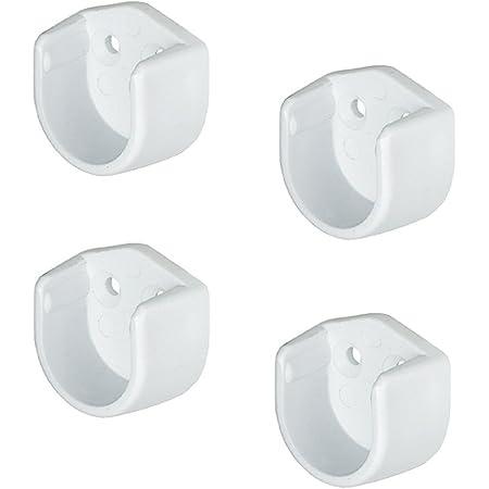 Gedotec Lot de 4 supports ronds pour tringle à vêtements de 18 mm de diamètre - En plastique blanc - Pour tringle de placard