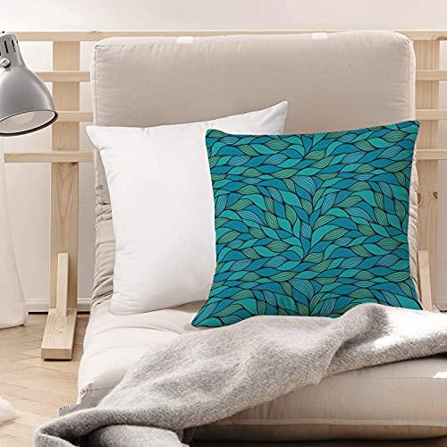 Funda de Cojines Suave Poliéster,Verde azulado, diseño abstracto de la onda con diferentes ,Funda de Almohada Cremallera Oculta Duradero Decoración para Sofá Cama Dormitorio Aire Libre Oficina 45x45cm
