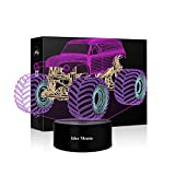3D Illusion Lamp Monster Truck Toys Night Light Smart Touch 4 Colors LED Kids' Room Decor Lamps or Lighting Changing Dimmable Tractor Monster Truck Car Gifts 1 2 3 4 5 6 7 8 9 Year Old Boy Gifts